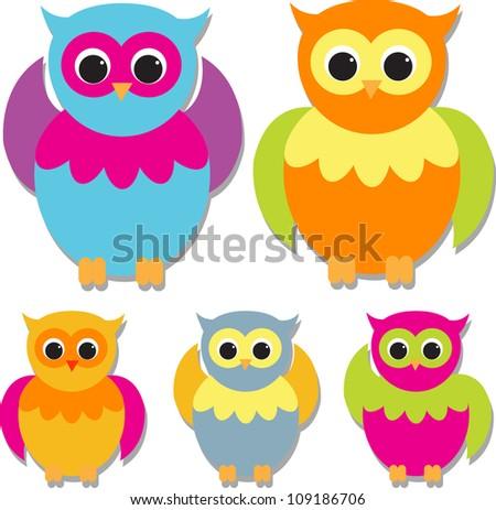 set of cute owls #109186706