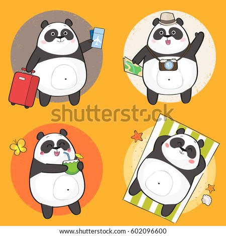 set of cute panda bear