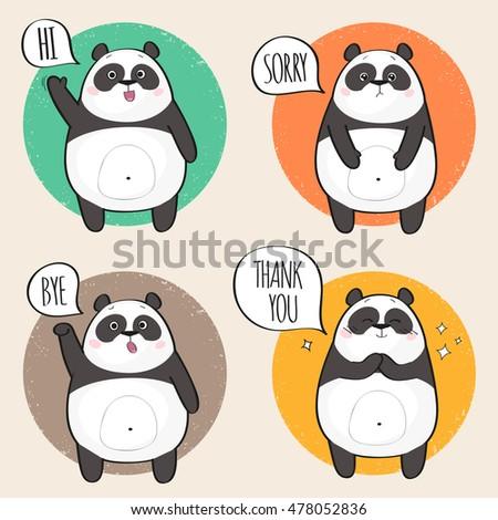 set of cute panda character