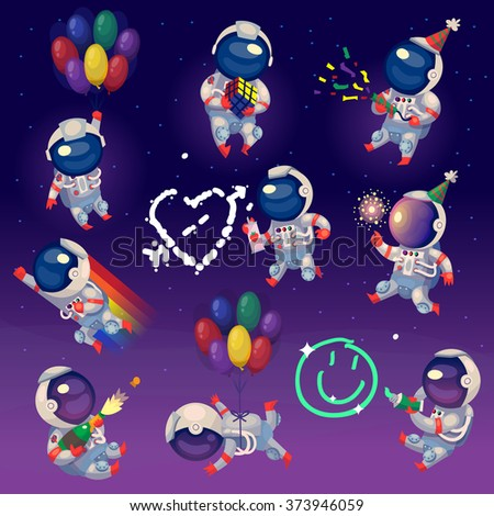 set of cute party astronauts in