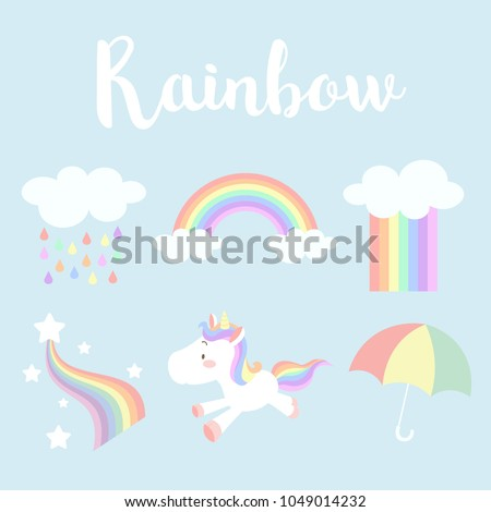 Set of cute pastel rainbow vector illustration; rainbow, cloud, unicorn, rain and umbrella