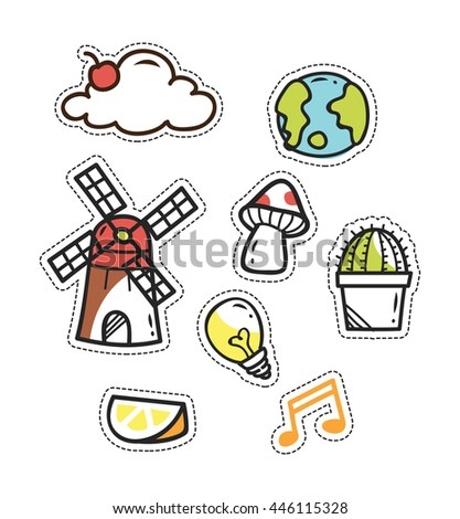 set of cute patch isolated on