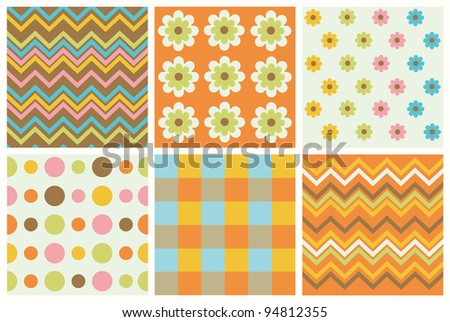 set of cute pattern. vector illustration