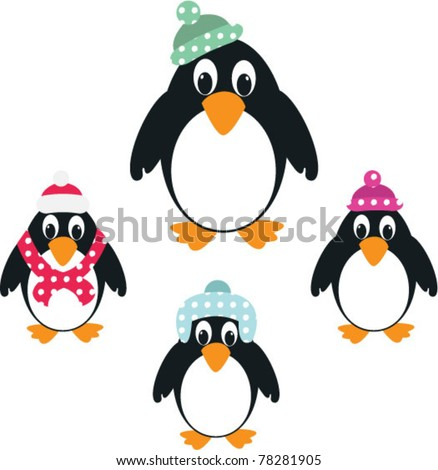 set of cute penguins