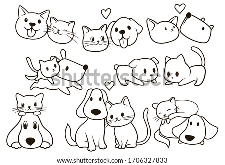 set of cute pets collection of