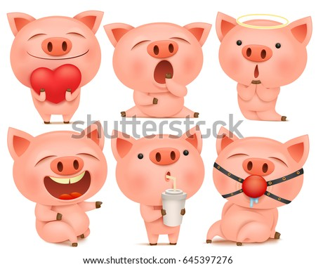 set of cute pig cartoon