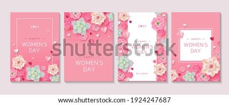 Set of cute pink floral posters for Women's Day 2021 holiday. Collection of different designs with flowers, hearts and text on pink background. 8 march greetings concept. - Vector illustration
