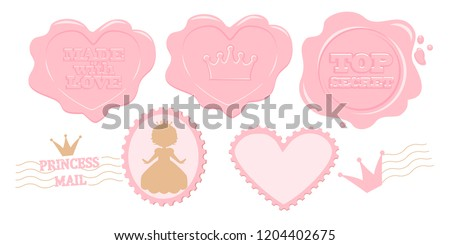 Set of cute pink vector stamps. Princess stickers collection for decoration vintage invite card, diary, notebook, album. Perforated edge label. Secret mail letter with wax. Design lol doll surprise