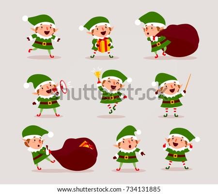 set of cute playful christmas