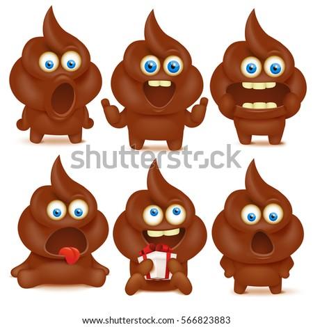 set of cute poop emoji