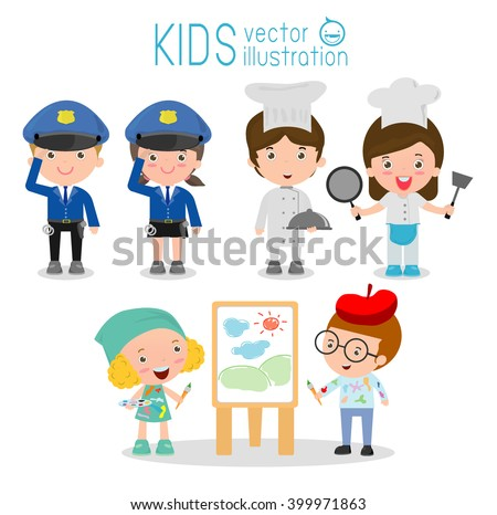 set of cute professions for