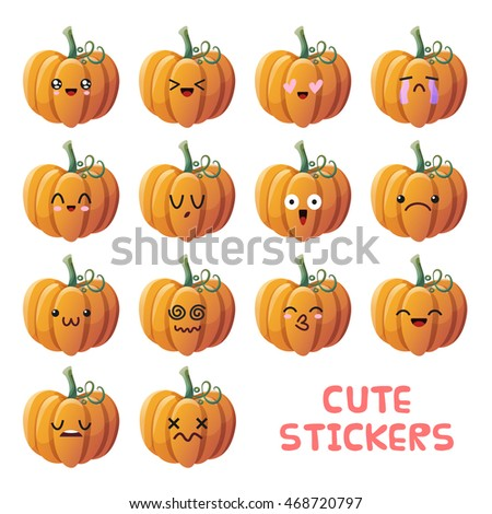 set of cute pumpkin emoji