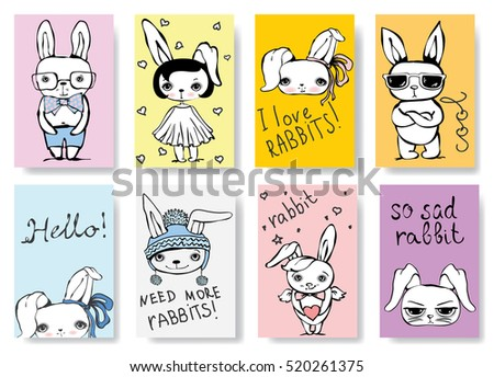 Set of cute rabbit cards. Vintage vector typography poster with hand drawn text and unicorn