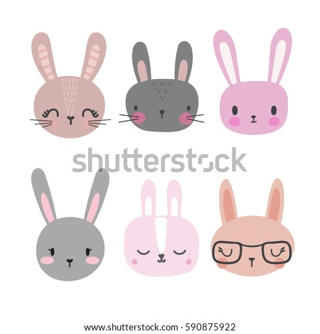 set of cute rabbits funny