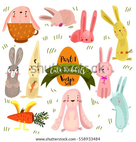 set of  cute rabbits in bright