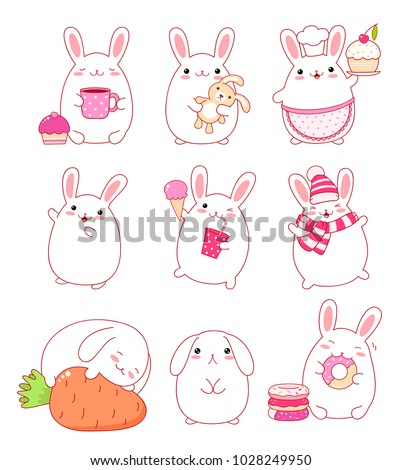 Set of cute rabbits in kawaii style. Funny, happy, laughing, sleeping, sad, running, eating, with cake, with letter, with donuts, ice cream and a glass of soda, in a hat and scarf. EPS8