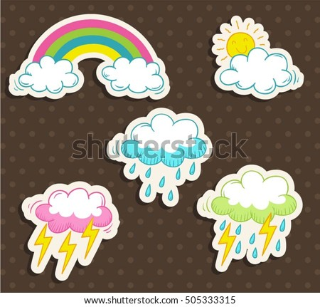 set of cute rainbow  clouds