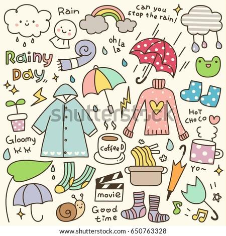 Set of Cute Rainy Day Doodle
