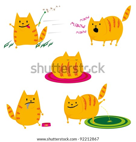 set of cute red cats on white background