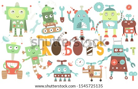 set of cute robot and