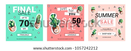Set of cute sale banners with embroidery cactus. Business offer for social media, email newsletter or web ads. Fun design in pastel colors and cartoon style. Vector EPS10 illustration.