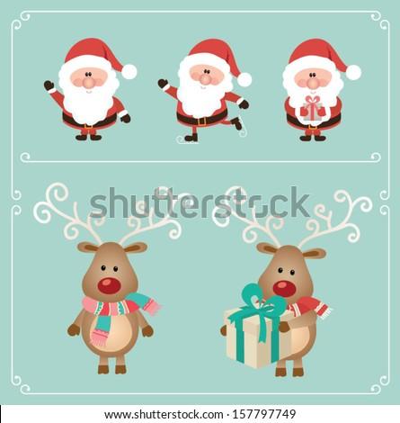 set of cute santa claus and