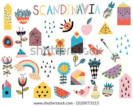 Set of cute scandinavian style elements. Hand drawn vector illustration.