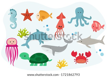 Set of Cute Sea Animals. Series of Various Sea Animals in Colour Isolated on Blue Background. Collection of Fishes and Marine Animals. Cartoon Flat Vector Illustration