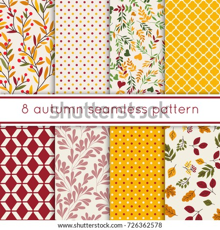 set of 8 cute seamless autumn