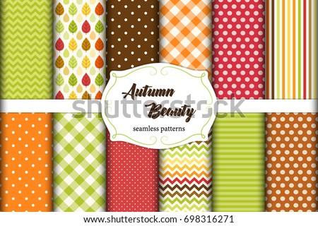 set of 12 cute seamless autumn