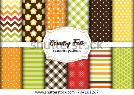 set of 12 cute seamless country