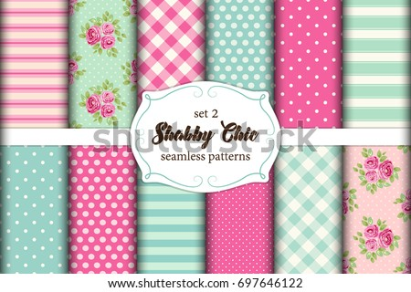 set of 12 cute seamless shabby