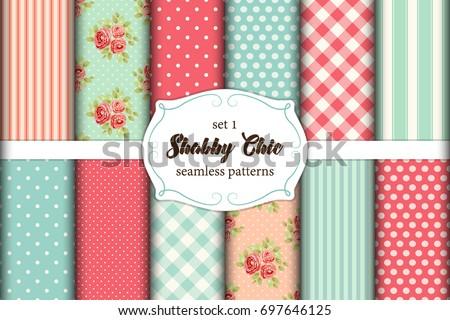 set of 12 cute seamless shabby