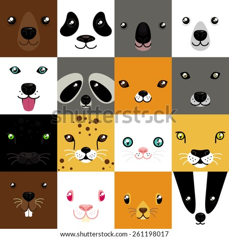 Stock Photo set of cute simple animal faces