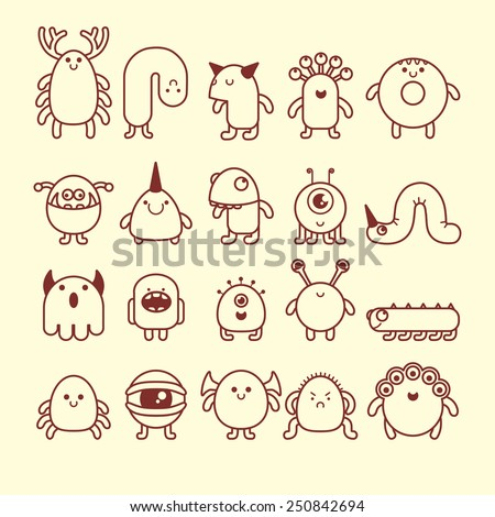 Set Of Cute Simple Cartoon Monsters Stock Images Page Everypixel