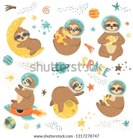 set of 6 cute sloths astronauts