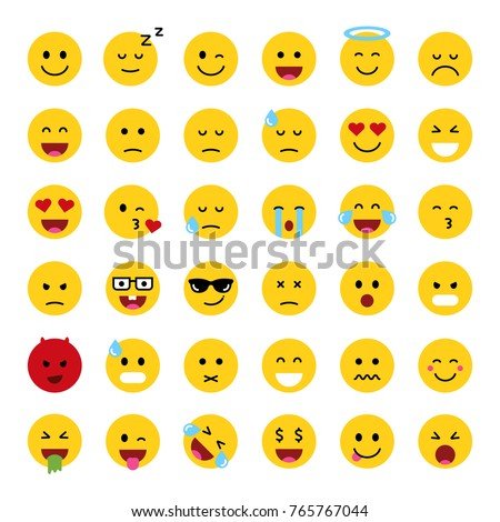 set of cute smiley emoticons