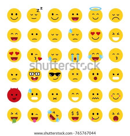 Set of cute smiley emoticons, flat design, vector illustration Сток-фото ©