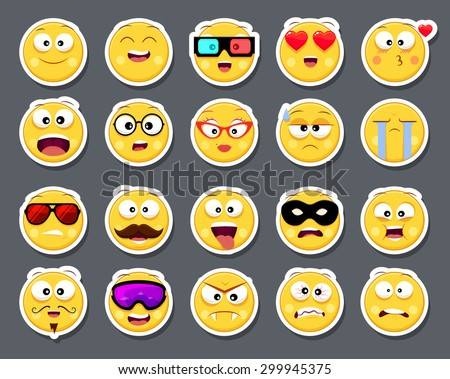Set of 20 cute smiley faces stickers in different facial expressions (smiley, geek, happiness, superhero, sick, positive, love, funny, humor, angry, surprise, cry, hipster )