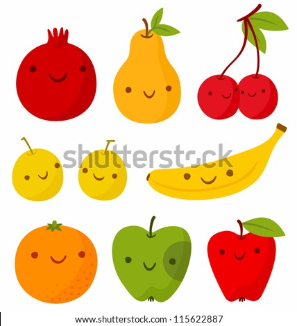 Set of cute smiling fruits. Vector illustration