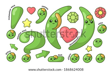 Set of cute smiling green kawaii punctuation marks in doodle style. Colored funny cartoon isolated vector illustration in flat design with shadows Foto stock ©