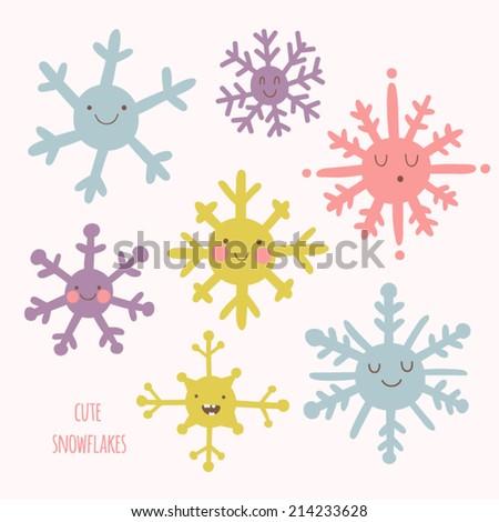 set of cute snowflakes in