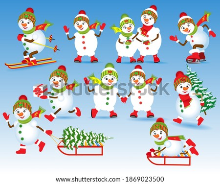 Set of cute snowmen. Cheerful snowmen in motion. A snowman on skis, on skates, with a gift, on a sled, with a Christmas tree, snowmen are holding hands. Christmas vector illustration.