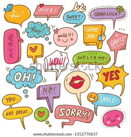 Set of cute speech bubble in doodle style  #1352770637