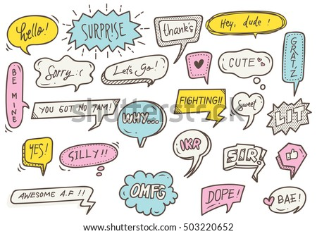 set of cute speech bubble with text in doodle style
