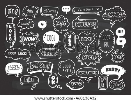 set of cute speech bubble with...