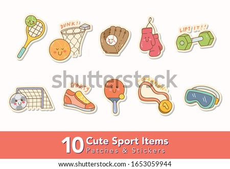 set of cute sport items patches