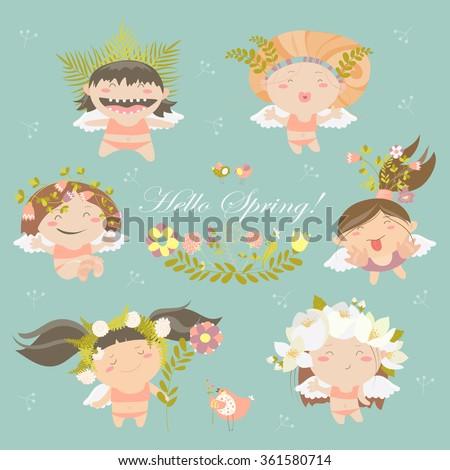set of cute spring angels