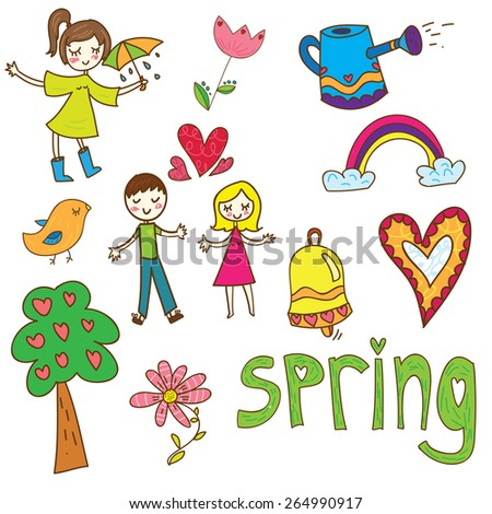 Set of cute spring elements, people and objects Foto stock ©