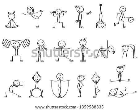 Set of cute stick figures making sports in different poses. Simple drawn doodles, expressing emotions, perfect for a presentation or commercial purposes.  Stockfoto ©